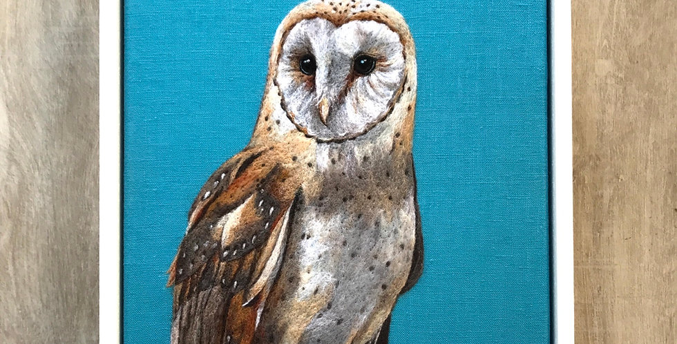 Barn owl - framed original felt painting