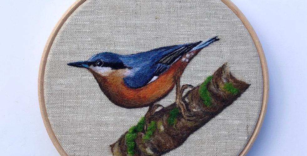 Needle felted nuthatch - original artwork