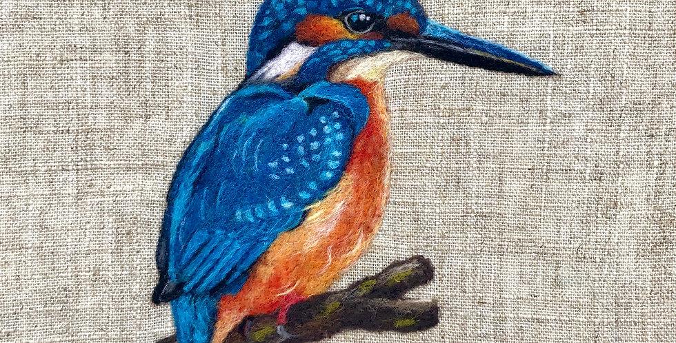 Kingfisher. Framed original felt painting