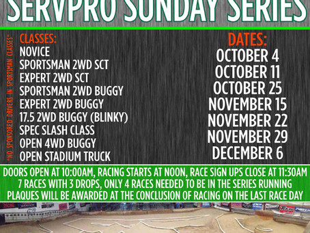 Servpro Sunday Point Series Race Announced!