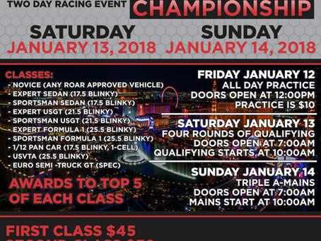 Upcoming Race Reminder:  Las Vegas On-Road Carpet Championship – 2018