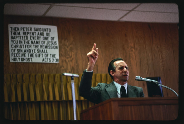 An image from the 1970s of our beloved Bishop preaching the Word!