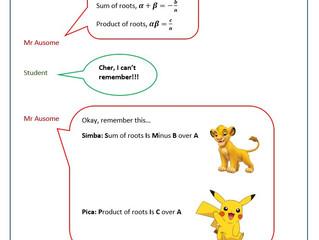 Mnemonics A-Math Quadratic Equations