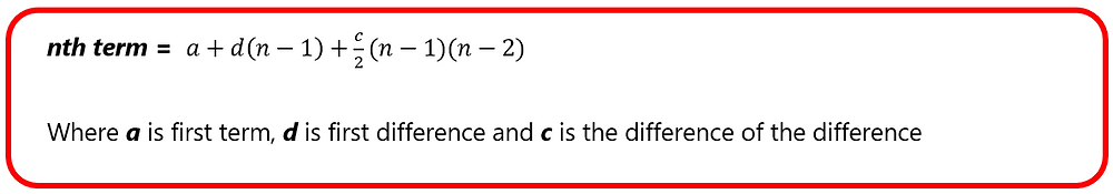 General Formula of Increasing Difference Number Patterns