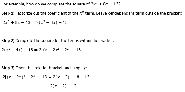 Typical Completing the Square Steps