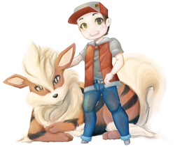 Arcanine and Trainer Red