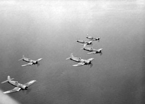 F4U-1 Corsair fighters of Royal New Zealand Air Force in flight near Bougainville