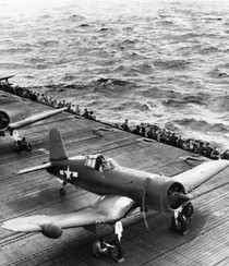 Vought F4U-2 Corsair from VMF-532 on CVE-92