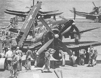 F4U-4 Corsair fighters of US Marine Corps squadron VMF-312