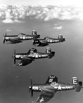 F4U-4 Corsair fighters of US Navy squadron VF-671
