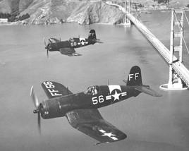 NAS Oakland Reserve FG-1D's flying past the Golden Gate Bridge. USN Photo.