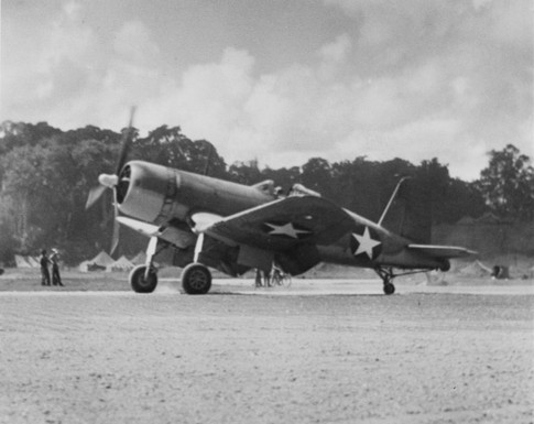 The first U.S. Marine Corps Vought F4U-1 Corsair of Marine Fighting Squadron VMF-124