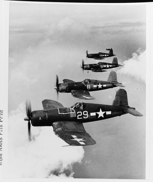 """Vought F4U-1A """"Corsair"""" fighters, of VF-17"""