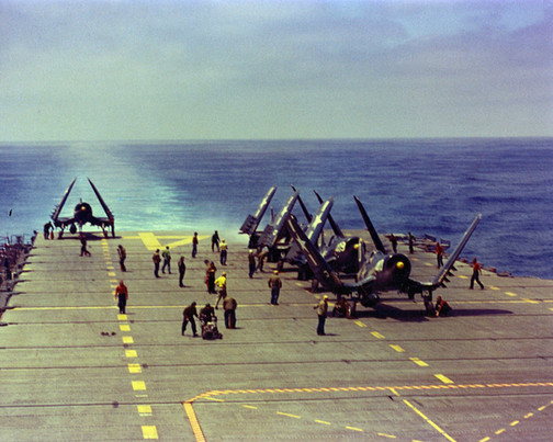 F4U-4 Corsair fighters of US Navy squadron VF-874