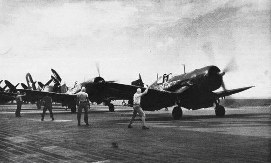 F4U-4 Corsair fighters of US Navy squadron VBF-74