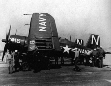 A U.S. Navy Vought F4U-4 Corsair of Fighter Squadron VF-94
