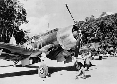F4U-1 Corsair of Marine Fighting Squadron 218 at Barakoma Airfield, Vella Lavella, Solomon