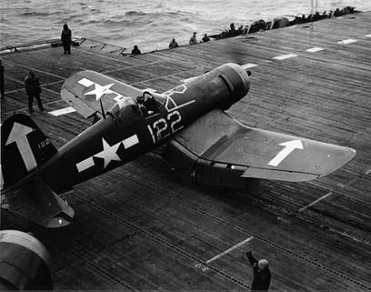 F4U-1D Corsair on the flight deck of USS Bunker Hill