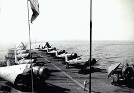Grumman TBW-3W Avenger and Vought F4U-7 Corsair on the French aircraft carrier La Fayette (R96) in 1962