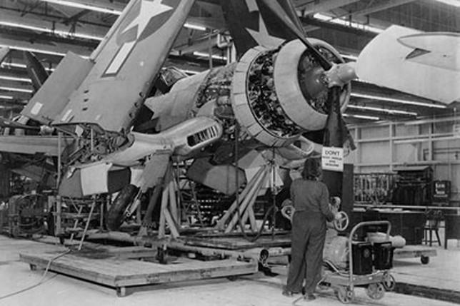 F4U-1 Corsair fighter under construction