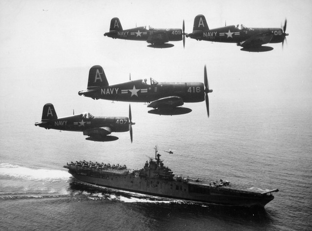 F4U-4 Corsair fighters of US Navy squadron VF-884