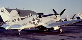 AU-1 Corsair fighter at rest, Marine Corps Base Quantico