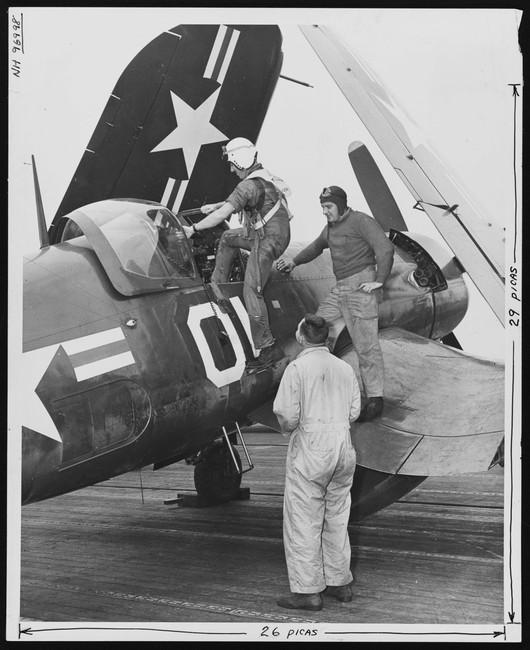 Captain David Booker, USMC with F4U-5P Vought Corsair