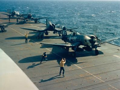 U.S. Marine Corps Vought F4U-4 Corsairs of Marine Fighter Squadron VMF-323