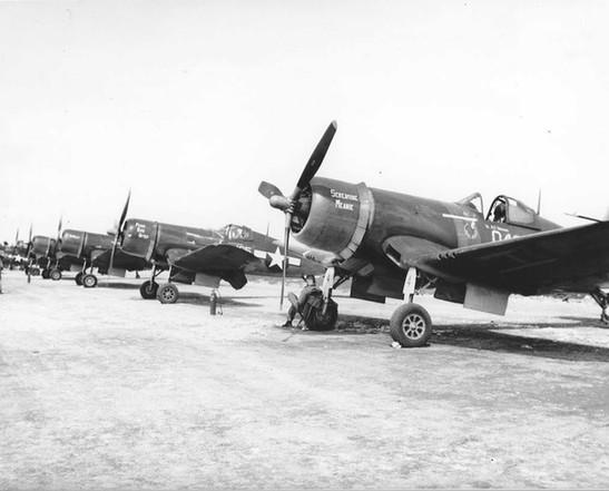 Line of F4U-1A Corsairs of Marine Squadron VMA-21