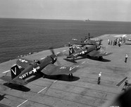 F4U-4 Corsair fighters of US Navy squadrons VF-113 and VF-114