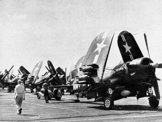 F4U-4 Corsair fighters of US Navy squadron VF-74