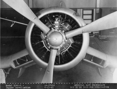 XF4U-1 engine installation