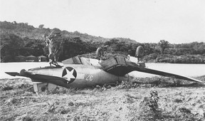 Crashed F4U-1 Corsair of Marine Squadron VMF-123 or VMF-124