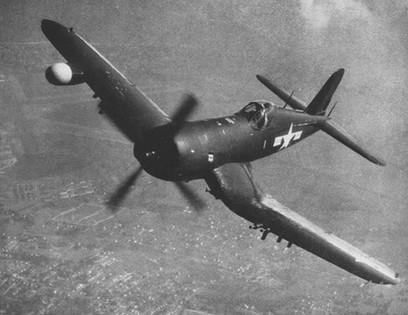 F4U-5N Corsair nightfighter in flight, late 1940s