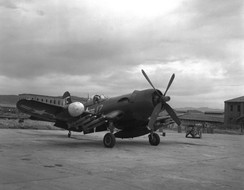A U.S. Marine Corps Vought F4U-5N ''Corsair'' night fighter of Marine night fighter squadron VMF(N)-513 ''Flying Nightmares''