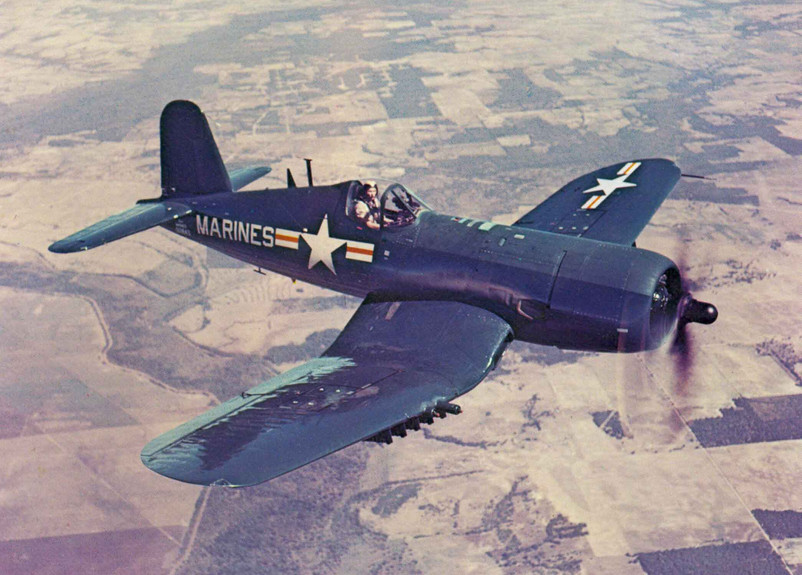 A factory-fresh Vought AU-1 Corsair