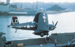 A U.S. Marine Corps Vought F4U-4 Corsair of Marine Fighter Squadron VMF-212