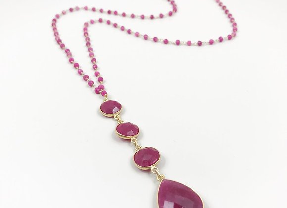 FabFacetsStudio - Ruby Necklace with 4 Stone Drop