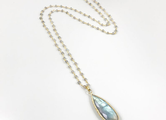 FabFacetsStudio -Labradorite Necklace with Long Teardrop Labradorite Pendant