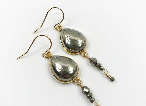 FabFacetsStudio - Pyrite gemstones, vermeil, gold filled ear wires