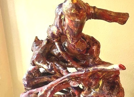Untitled - J. Pacheco  Burgundy and gold tree root sculpture. Sanded, hand pain