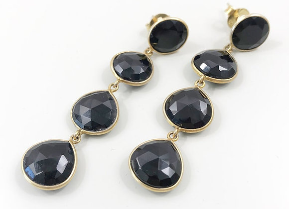 FabFacetsStudio - Black Onyx Rose Cut Gemstones, gold vermeil