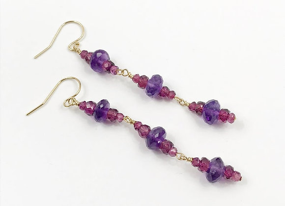FabFacetsStudio - Amethyst and Rhodolite Garnet Earrings