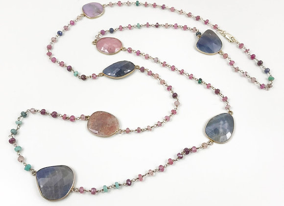 FabFacetsStudio - Sapphire Multi-color One of a Kind Necklace
