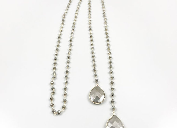 FabFacetsStudio - Pyrite Lariat Necklace with Pyrite Teardrop Pendants