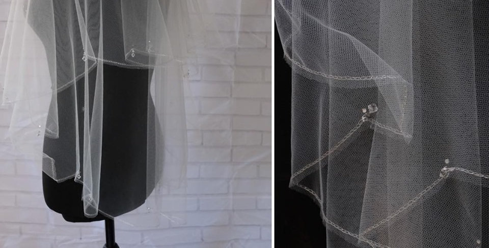 SCALLOPED EDGE, CRYSTAL DROP VEIL
