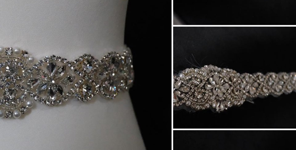 CRYSTAL AND PEARL BEADED BELT