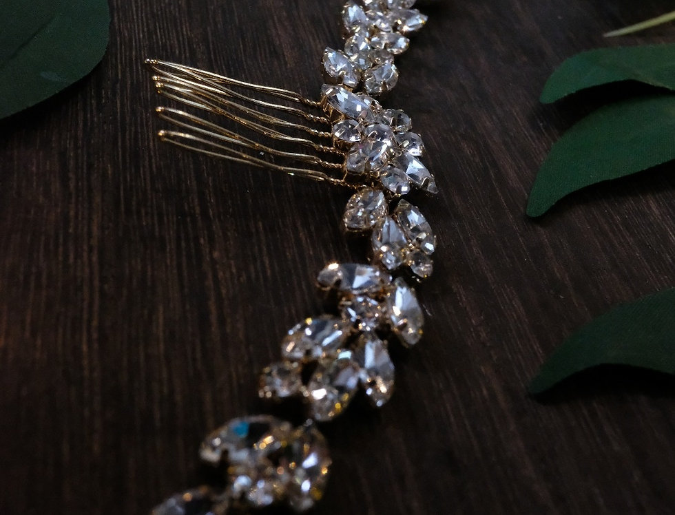 CRYSTAL GLAM HAIR COMB GOLD