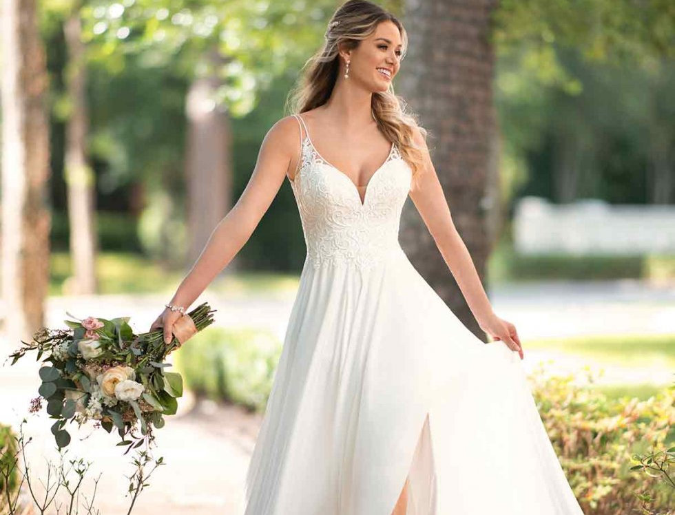 STELLA YORK 6717, BOHO BEACH WEDDING DRESS SIZE 14 SHEATH