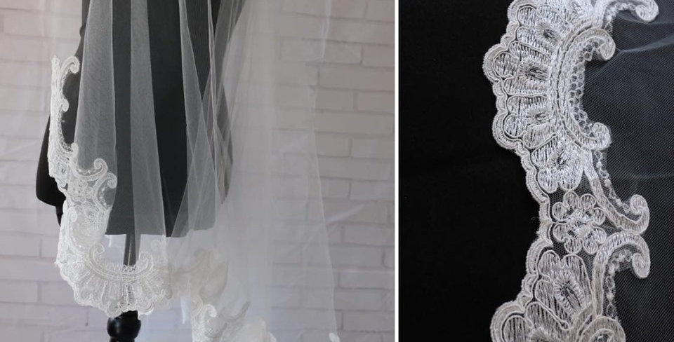 EMBROIDERED LACE EDGE VEIL